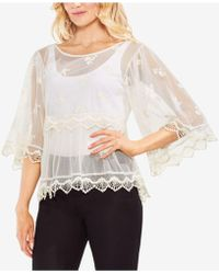 Vince Camuto - Scalloped Angel-sleeve Mesh Blouse - Lyst