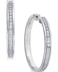 Macy's - Diamond Medium Glitter Hoop Earrings (1/4 Ct. T.w.) In Sterling Silver - Lyst