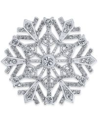Charter Club Holiday Lane Silver-tone Crystal Snowflake Pin, Created For Macy's - Metallic