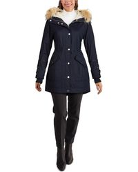 Guess Faux-fur Trim Hooded Anorak, Created For Macy's - Blue