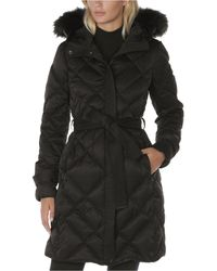 Laundry by Shelli Segal Belted Faux-fur-trim Hooded Puffer Coat - Black