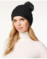 Surell - Star Stitched Knit Rabbit Fur Pom Hat - Lyst