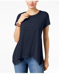 Style & Co. - Burnout Handkerchief-hem T-shirt, Created For Macy's - Lyst