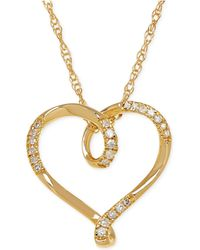 Macy's - Diamond Heart Pendant Necklace (1/10 Ct. T.w.) In 10k Gold - Lyst