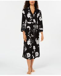 Charter Club Printed Cotton Long Knit Robe, Created For Macy's - Black
