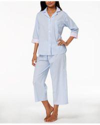 Miss Elaine Striped Cotton Pyjama Set - Blue