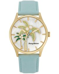 Tommy Bahama Pearl Palm Tree Blue Leather Strap Watch, 41mm