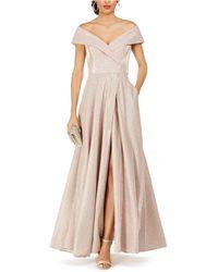 Xscape Petite Off-the-shoulder Glitter Gown - Multicolour