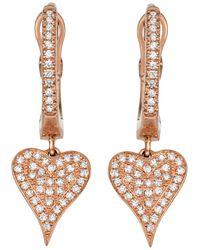 Serena Williams Jewelry Diamond (1/5 Ct. T.w.) Heart Earrings In 14k Rose Gold - Pink