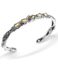 Carolyn Pollack Yellow-orange Citrine (1-3/4 Ct. T.w.) Five Stone Cuff Bracelet In Sterling Silver - Metallic