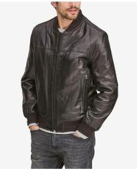 Marc New York Summit Leather Bomber Jacket - Black