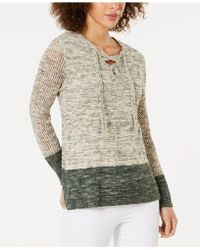 70035424e81 Lyst - Style   Co. Petite Cowl-neck Lace Sweater in Black