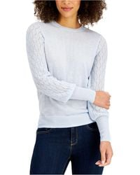 Style & Co. Mixed-stitch Pointelle Sweater, Created For Macy's - Blue