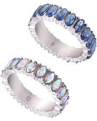 Guess Silver-tone 2-pc. Set Crystal & Stone Rings - Blue