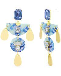 Catherine Malandrino Blue Rhinestone Geo Shaped Drop Earrings
