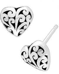 Lois Hill Filigree Heart Stud Earrings In Sterling Silver - Metallic