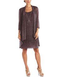 R & M Richards Petite Crinkle-knit Dress & Jacket - Multicolour