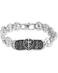 Macy's - Cross Plate Circle Link Bracelet In Stainless Steel & Black Ion-plate - Lyst