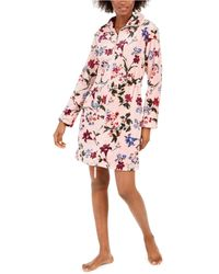 Sesoire Floral-print Short Zipper Robe - Pink