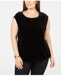Calvin Klein - Plus Size Velour Sleeveless Top - Lyst