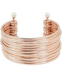BCBGeneration - Pearl Silver Multi Row Cuff Bracelet - Lyst