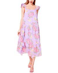Betsey Johnson Cotton Bouquet-print Maxi Dress - Pink
