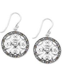 Macy's - Crystal & Marcasite Circle Drop Earrings In Fine Silver-plate - Lyst