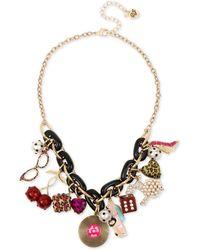 Betsey Johnson Retro Multi Charm Frontal Statement Necklace - Metallic