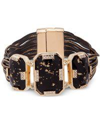 Anne Klein - Gold-tone Pavé & Stone Fabric Flex Bracelet - Lyst
