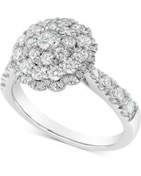 Marchesa Round Cluster Ring (1-1/2 Ct. T.w.) In 18k White Gold - Multicolour