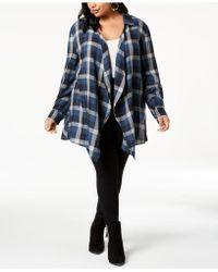 Style & Co. - Plus Size Cotton Plaid Peplum-hem Cardigan, Created For Macy's - Lyst