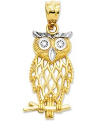 Macy's 14k Gold And Sterling Silver Charm, Owl Charm - Metallic