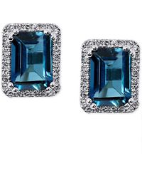 Macy's London Blue Topaz (2-1/4 Ct. T.w.) & Diamond (1/6 Ct. T.w.) Stud Earrings In 14k White Gold