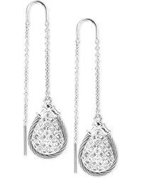Charriol - White Topaz Drop Earrings (9/10 Ct. T.w.) In Sterling Silver & Stainless Steel - Lyst