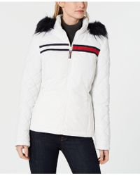 Tommy Hilfiger Logo Faux-fur Puffer Coat, Created For Macy's - White