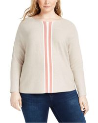 INC International Concepts Inc Plus Size Varsity-stripe Jumper, Created For Macy's - Natural