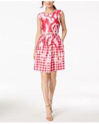 Ellen Tracy - Belted Midi Dress - Lyst