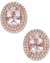 Macy's - Morganite (2 Ct. T.w.) And Diamond (1/3 Ct. T.w.) Oval Stud Earrings In 14k Rose Gold - Lyst