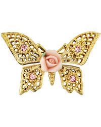 2028 Gold-tone Pink Crystal And Porcelain Rose Butterfly Brooch - Metallic