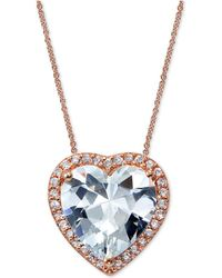 Giani Bernini - Cubic Zirconia Heart Pendant Necklace In 18k Rose Gold-plated Sterling Silver - Lyst