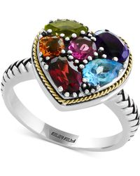 Effy Collection Multi-gemstone Two-tone Heart Ring (2-1/6 Ct. T.w.) In Sterling Silver & 18k Gold - Metallic