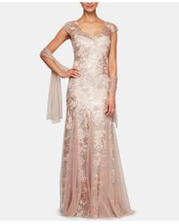 Alex Evenings Illusion Cap Sleeve Embroidered Lace Godet Gown - Multicolor