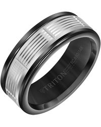 Triton 8mm Black Tungsten Carbide Ring With 14k White Gold Serrated Vertical Cut Insert