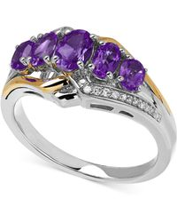 Macy's - Amethyst (1-1/4 Ct. T.w.) And Diamond Accent Ring In 14k Gold And Sterling Silver - Lyst