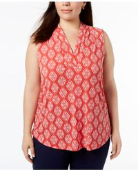 Charter Club - Plus Size Printed V-neck Blouse, Created For Macy's - Lyst