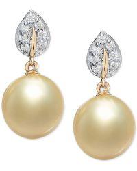 Macy's Cultured Golden South Sea Pearl (9mm) & Diamond (1/8 Ct. T.w.) Drop Earrings In 14k Gold - Metallic