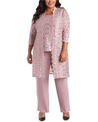 R & M Richards 3-pc. Plus Size Sequined Lace Pantsuit & Shell - Purple