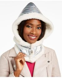 DKNY Logo Puffer Hood With Faux-fur Trim - Metallic
