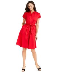 Charter Club Cotton Tie-waist Fit & Flare Dress, Created For Macy's - Red