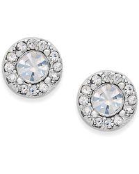 Charter Club - Silver-tone Clear Circle Stud Earrings - Lyst
